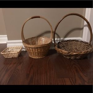 Other - Three small wicker baskets one with plastic liner